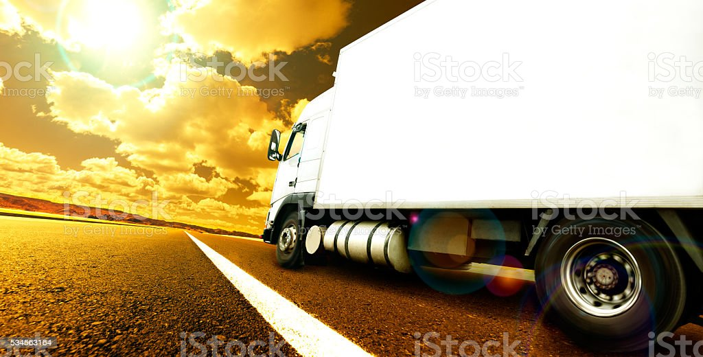 International delivering goods trailer stock photo