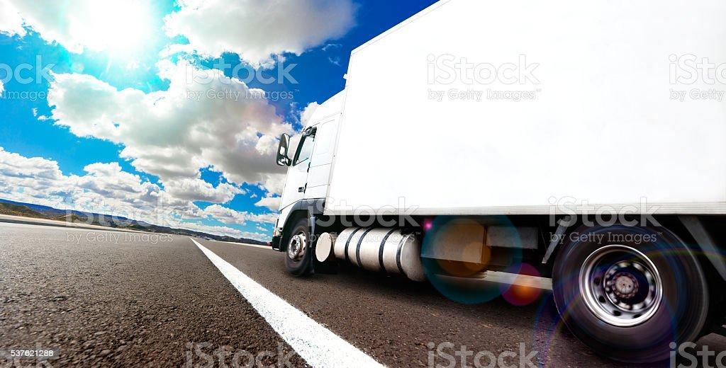 International delivering goods trailer stock photo
