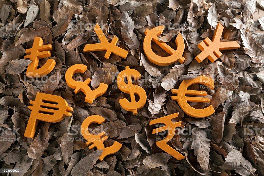 International economy money icon and currency units stock photo
