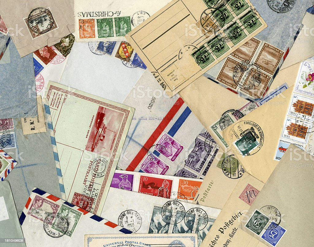 International envelopes and postcards background stock photo