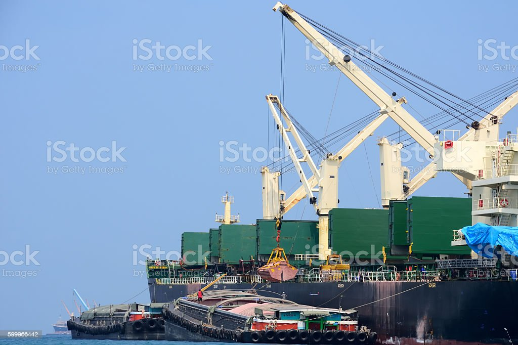 international export ship in the port stock photo