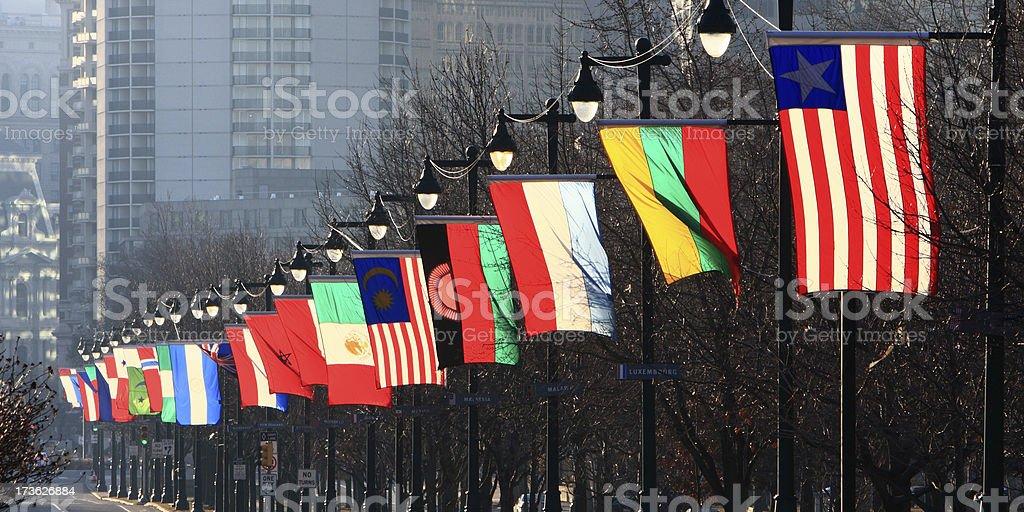 International flags at Philadelphia Park way royalty-free stock photo