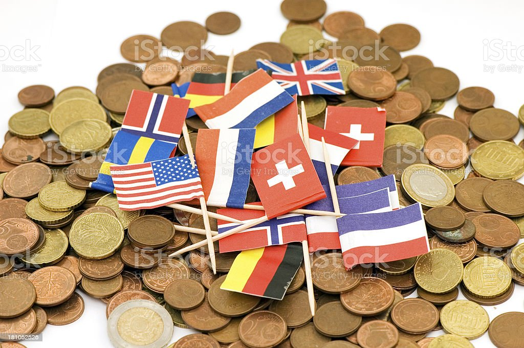 International Flags on euro coins background stock photo