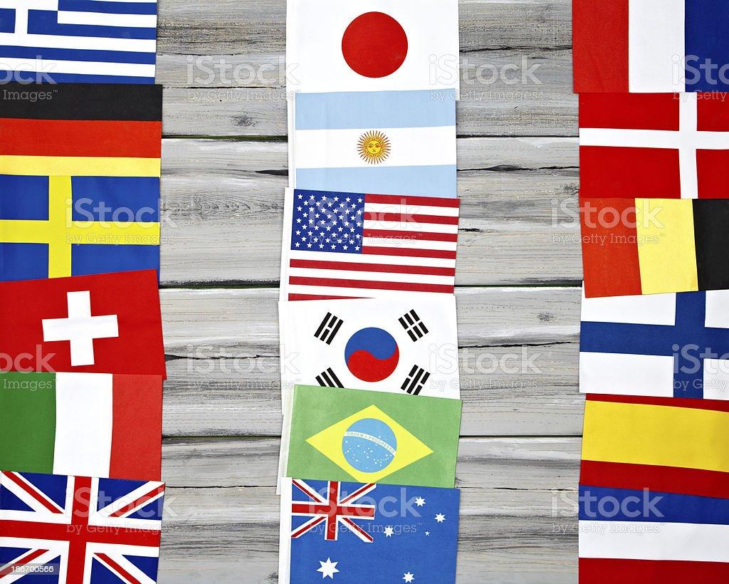 International Flags On Wood Background. royalty-free stock photo