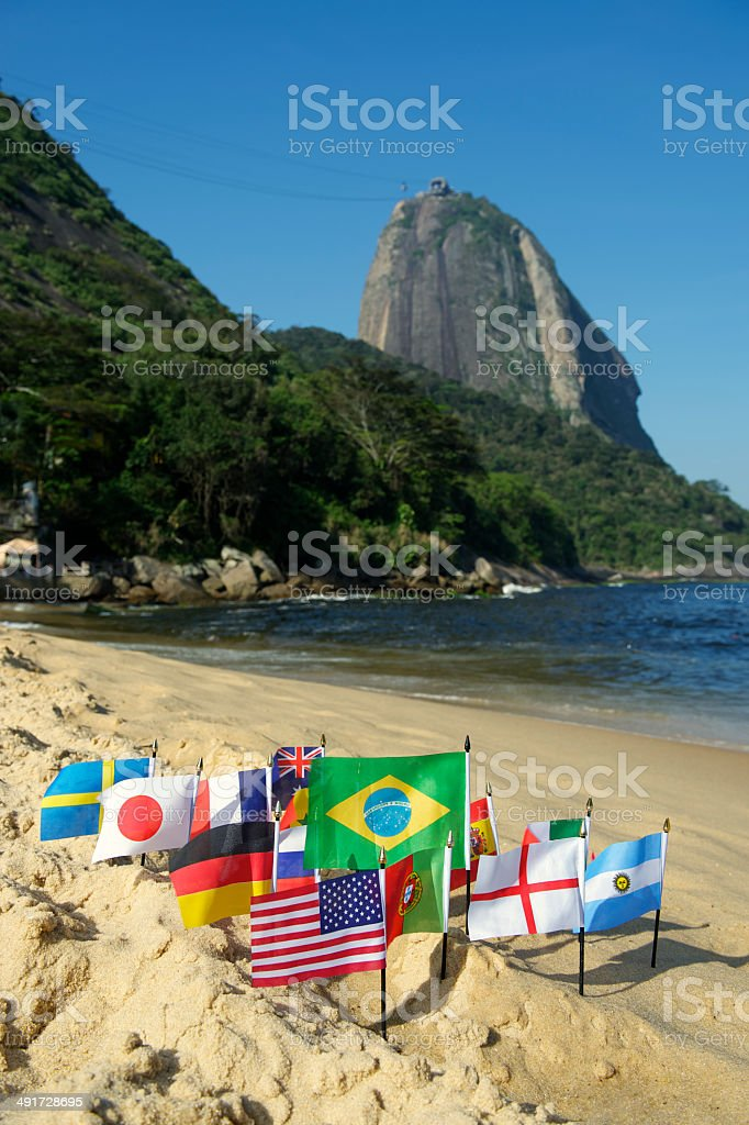 International Flags Rio de Janeiro Beach royalty-free stock photo