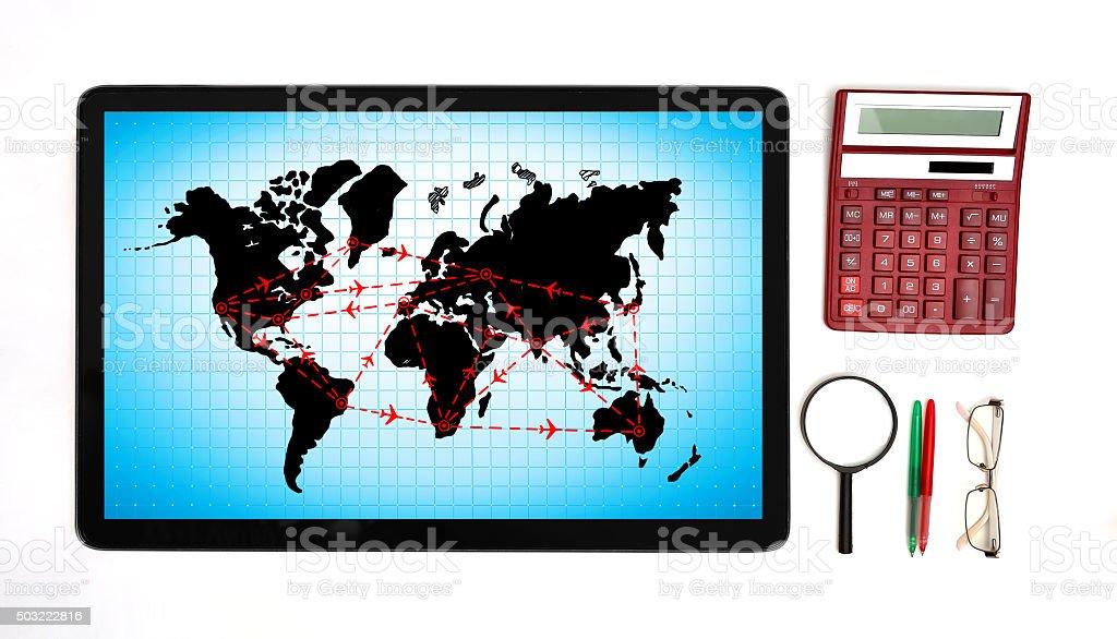 international flights scheme stock photo