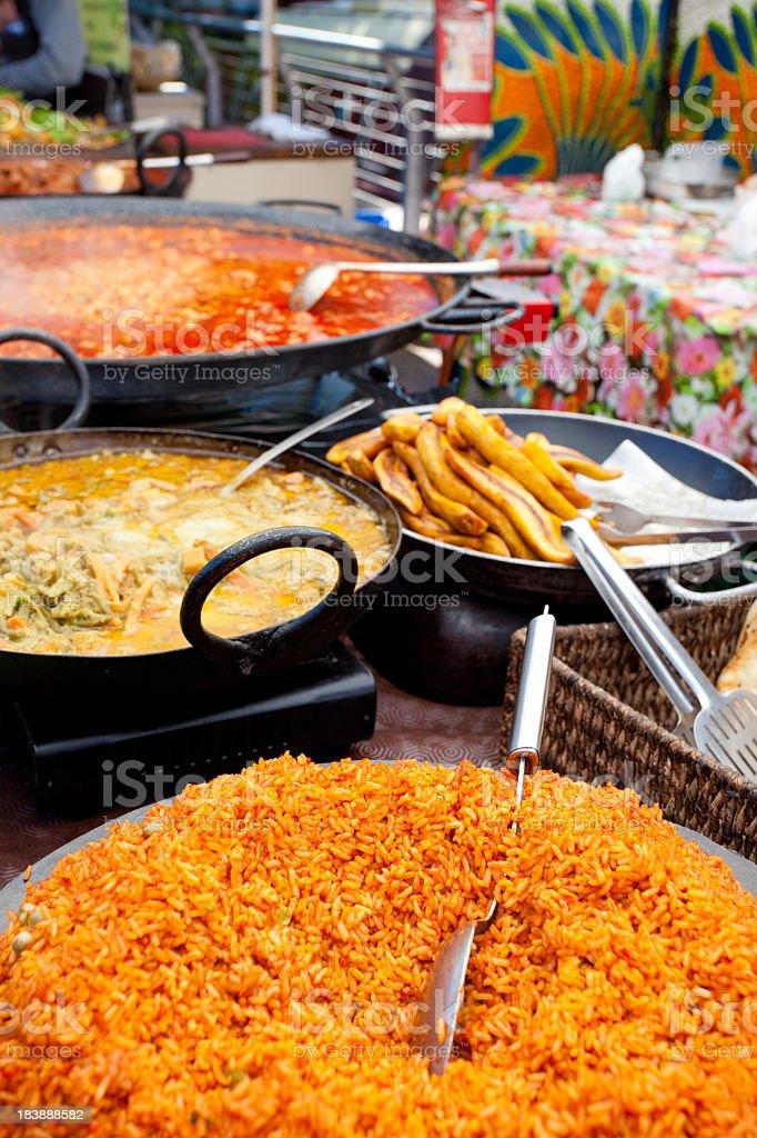 International food stall at Camden Market, London stock photo