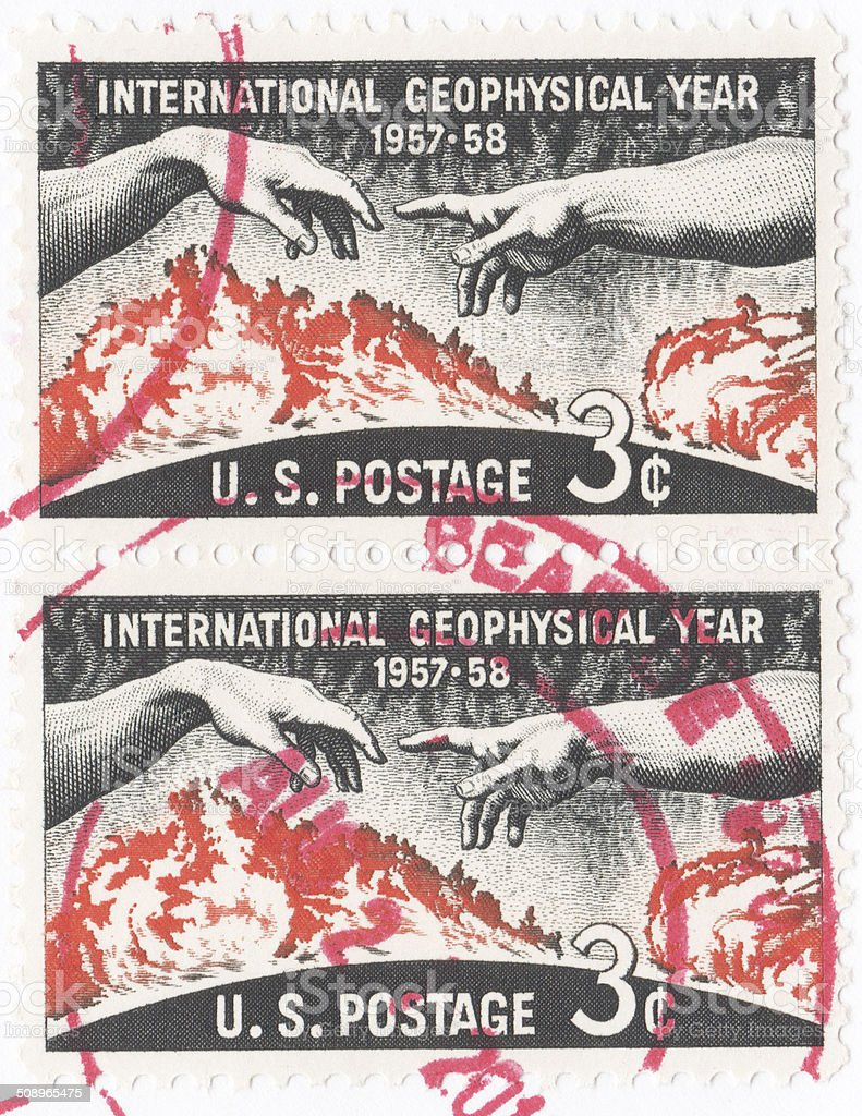 International Geophysical Year 1957 to 1958 stamp stock photo