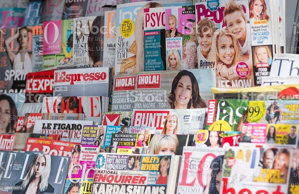 International Magazine Newsstand stock photo
