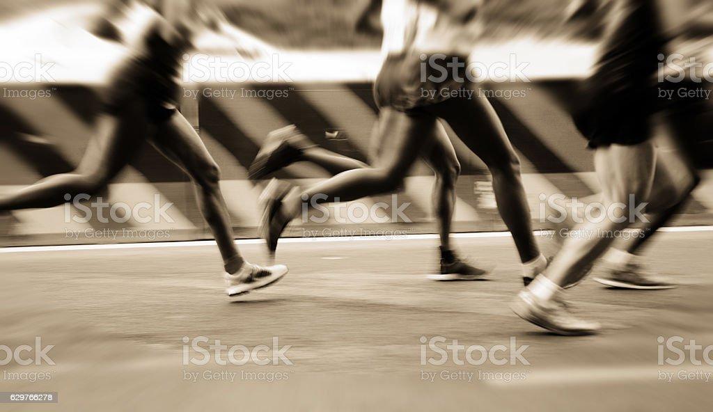 international marathon runner stock photo