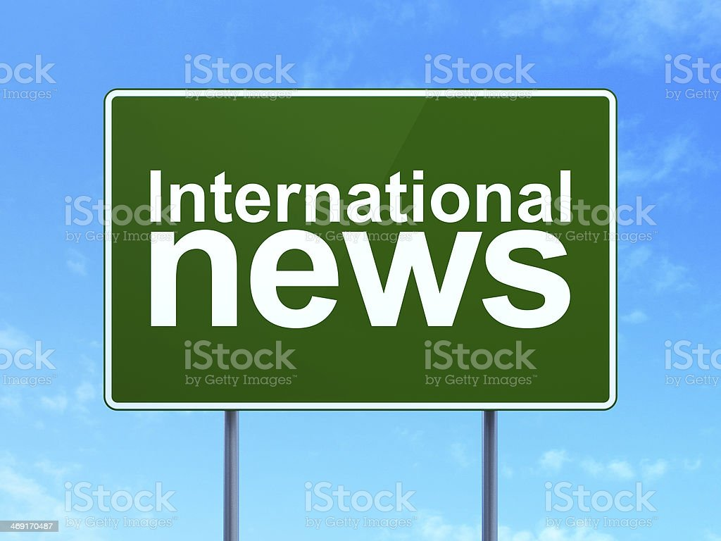 International News on road sign background royalty-free stock photo