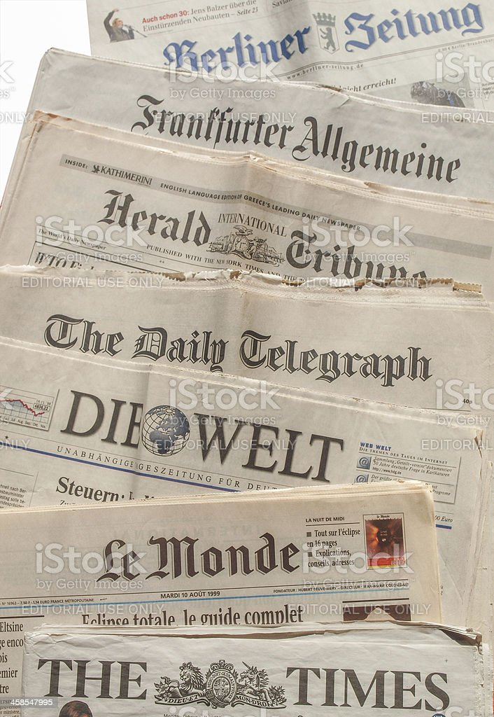International newspaper stock photo