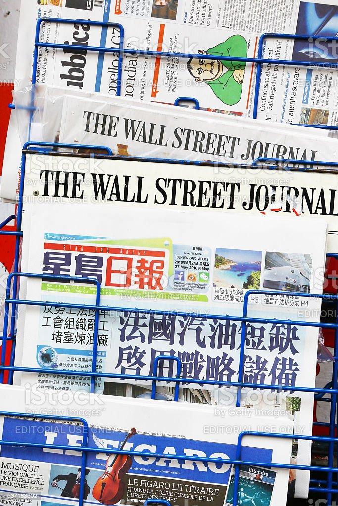 International newspapers stock photo