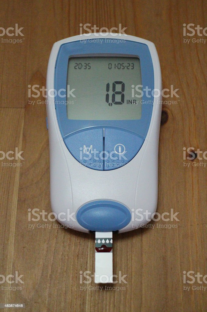 International Normalised Ratio (INR) blood clotting self test stock photo