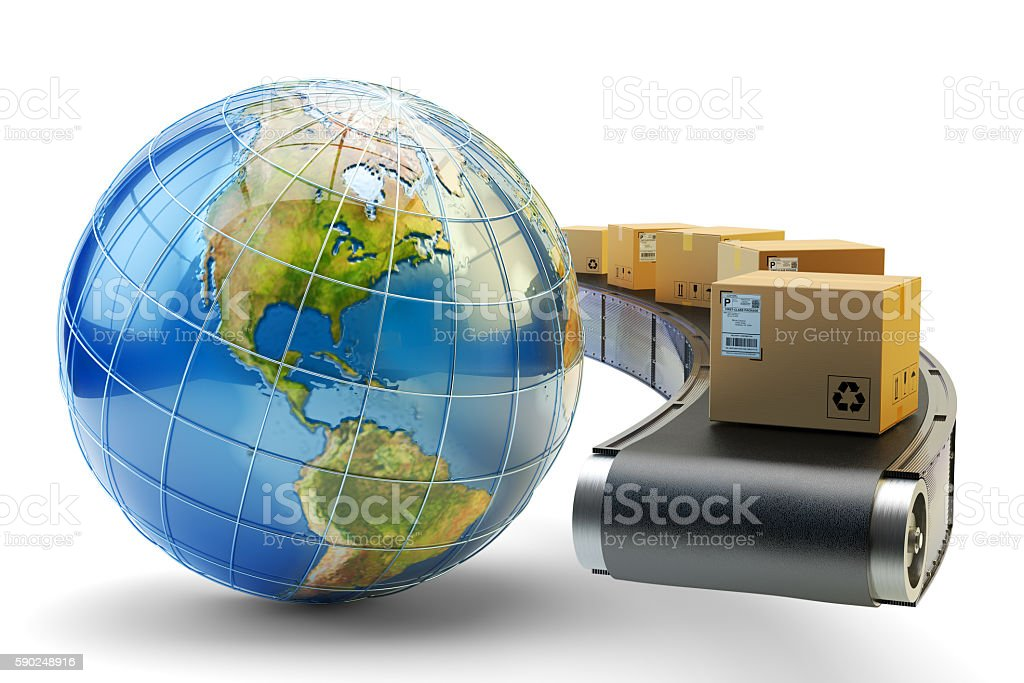International package delivery and parcels shipping concept stock photo