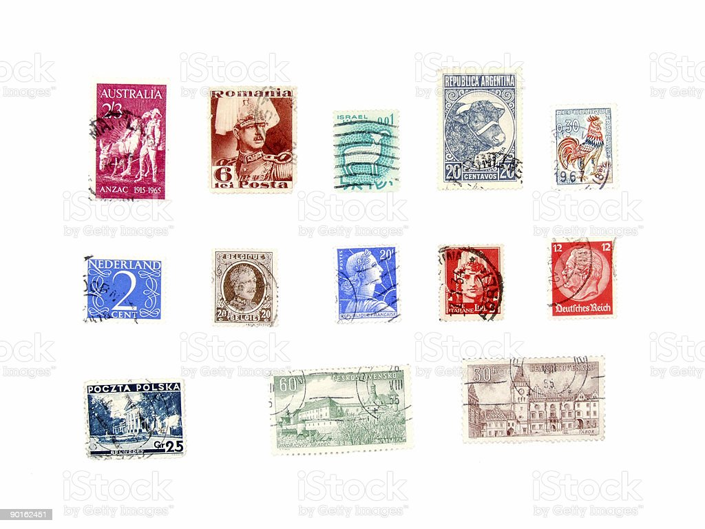 International post stamps collection royalty-free stock photo
