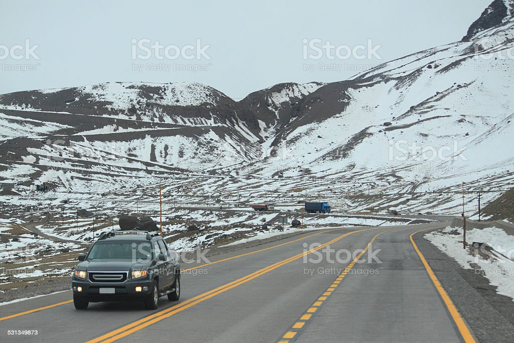 international road between Santiago and Mendoza stock photo