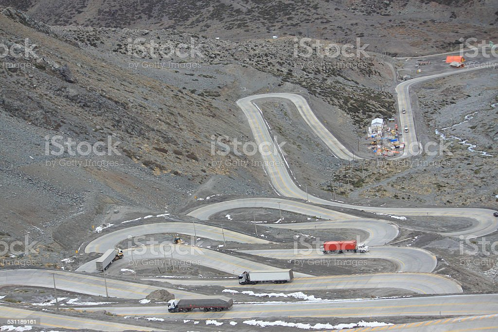 international road with many switchbacks between Santiago and Mendoza stock photo