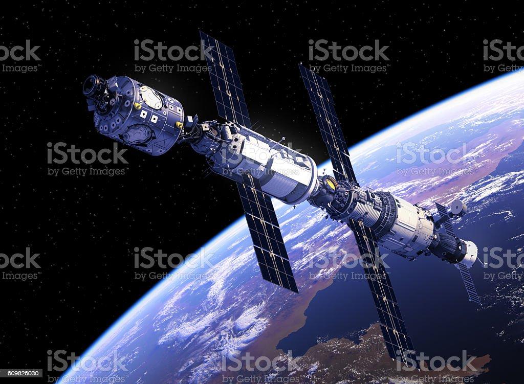 International Space Station Orbiting Earth stock photo