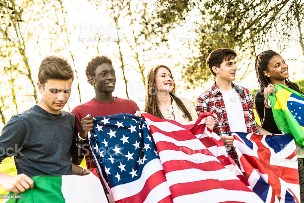 international supporter student togetherness stock photo