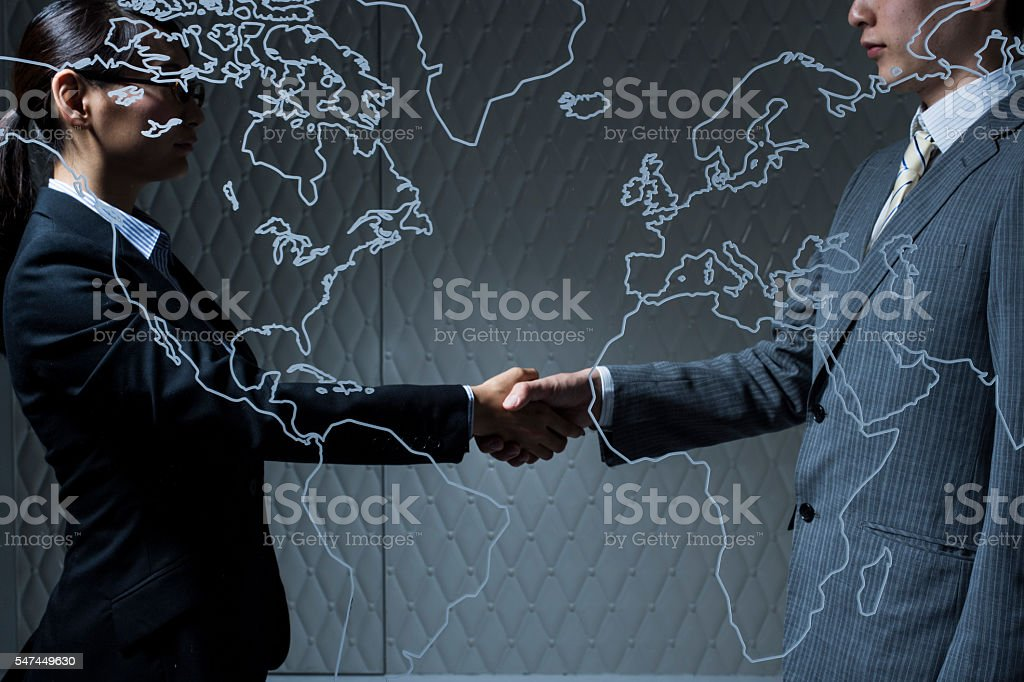 International trade has been linked by  United States and Europe stock photo