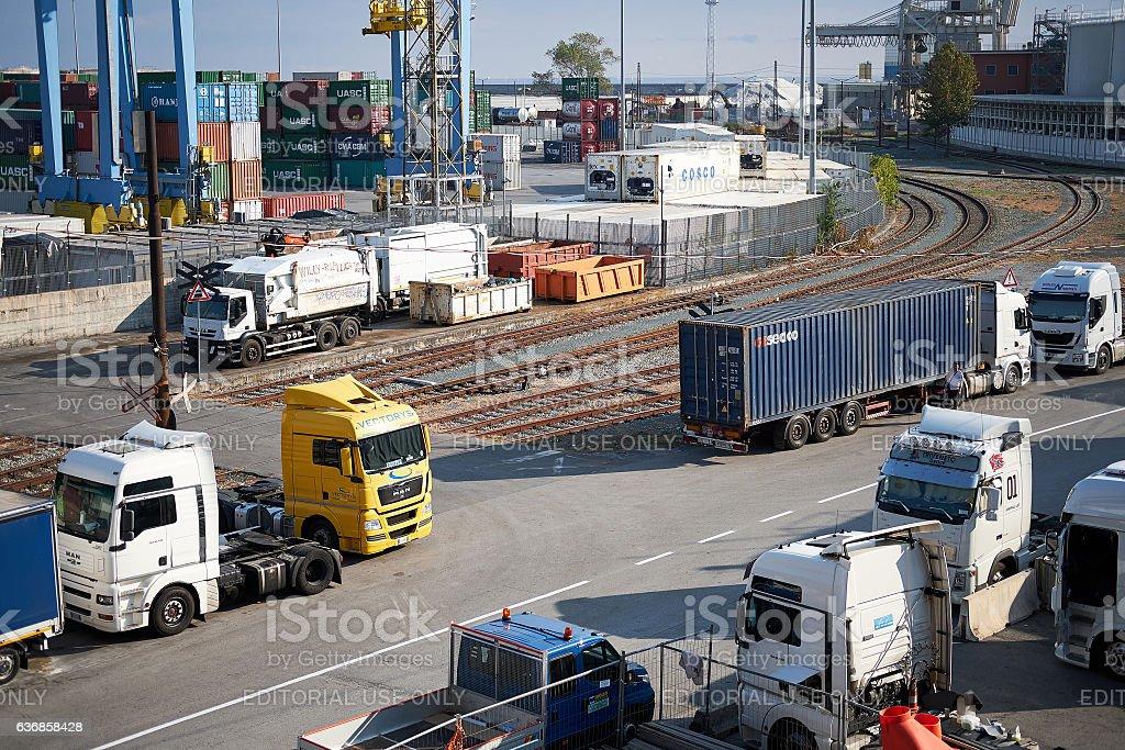 International trade via truck stock photo