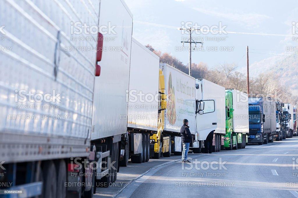 International transport trucks are blocked  from the border cros stock photo