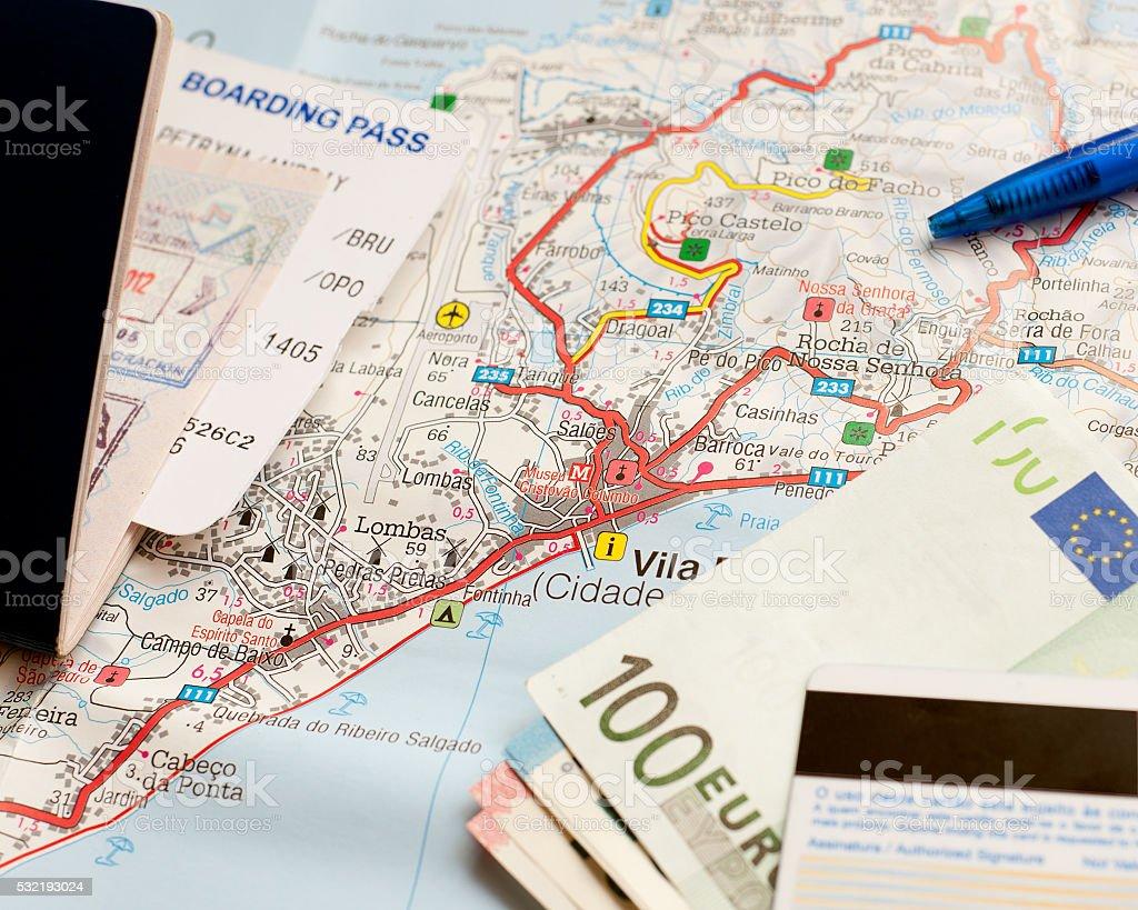 International travel concept. Passport, money, credit card, map. stock photo