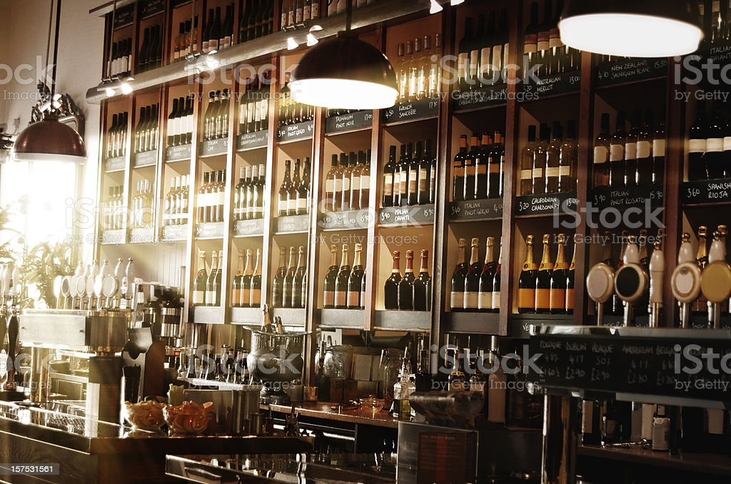 International wine bar stock photo