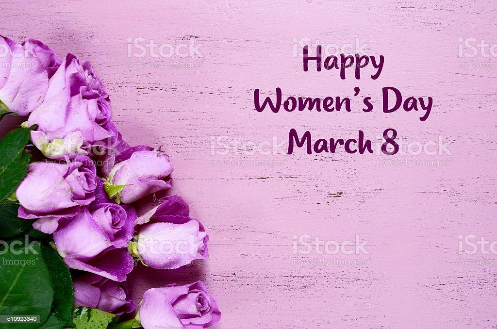 International Womens Day Purple Roses stock photo