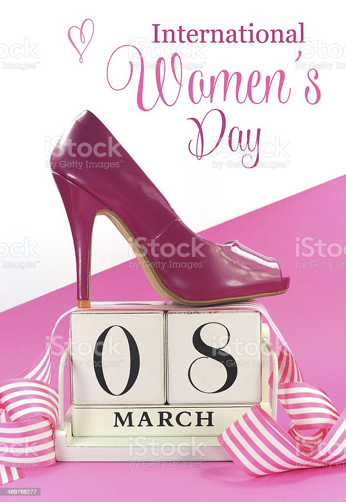 International Women's Day vintage calendar with shoe. stock photo