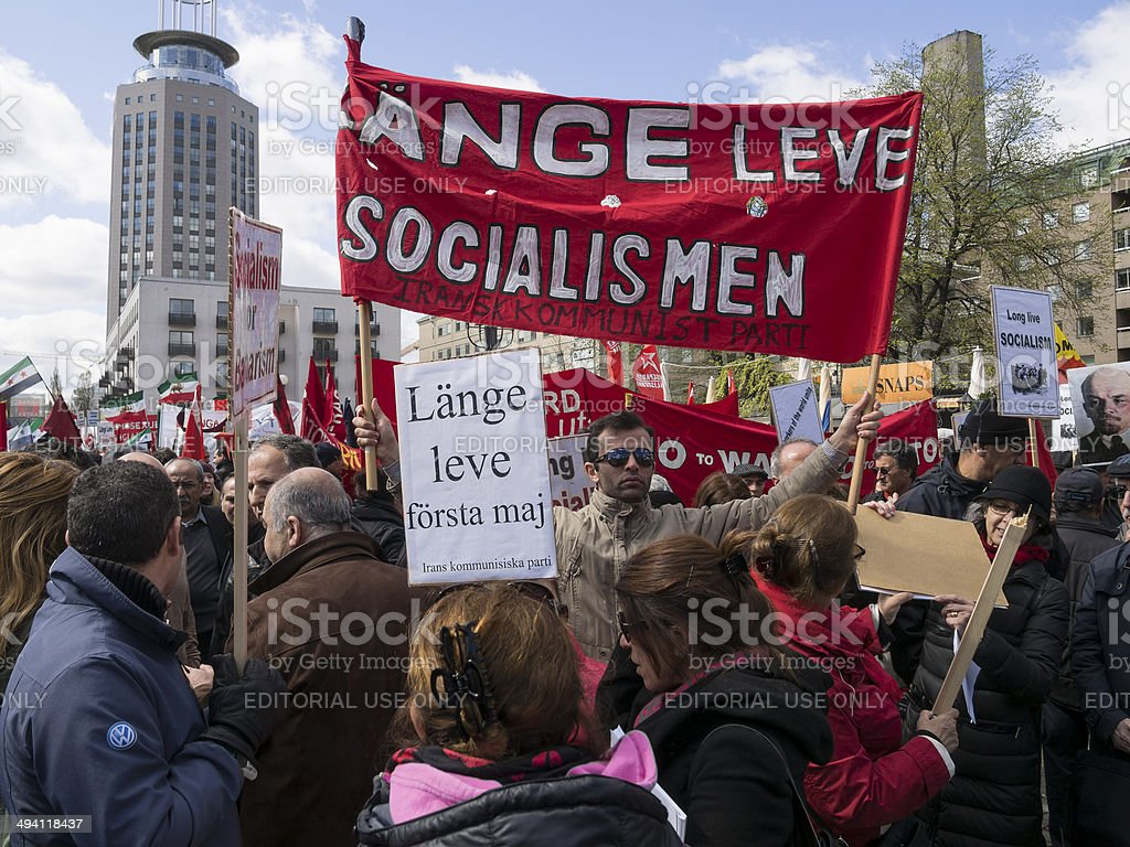 International Workers Day Rally in Stockholm stock photo