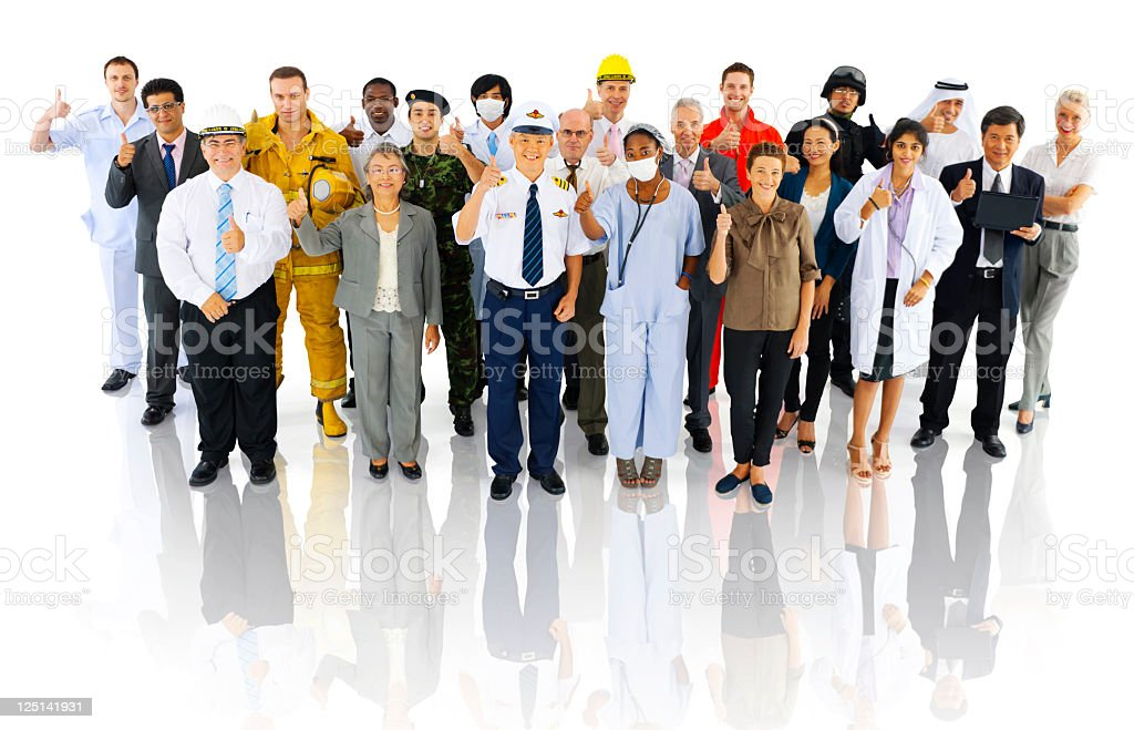 International Workers with different Occupations. Thumbs up royalty-free stock photo
