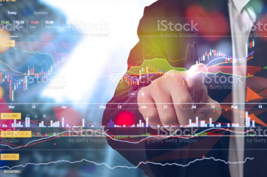 International World business Stock financial concept with businessman, His business growth and progress with Stock market digital graph chart on LED display. 3d. stock photo