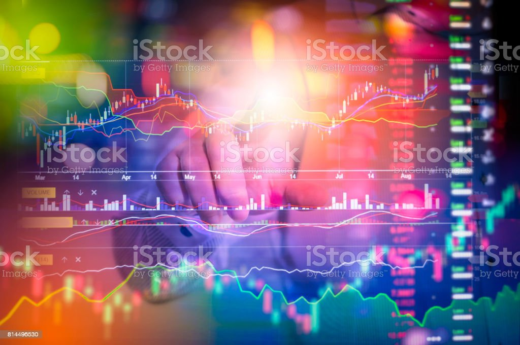 International World business Stock financial concept with businessman, His business growth and progress with Stock market digital graph chart on LED display. World 3d. stock photo