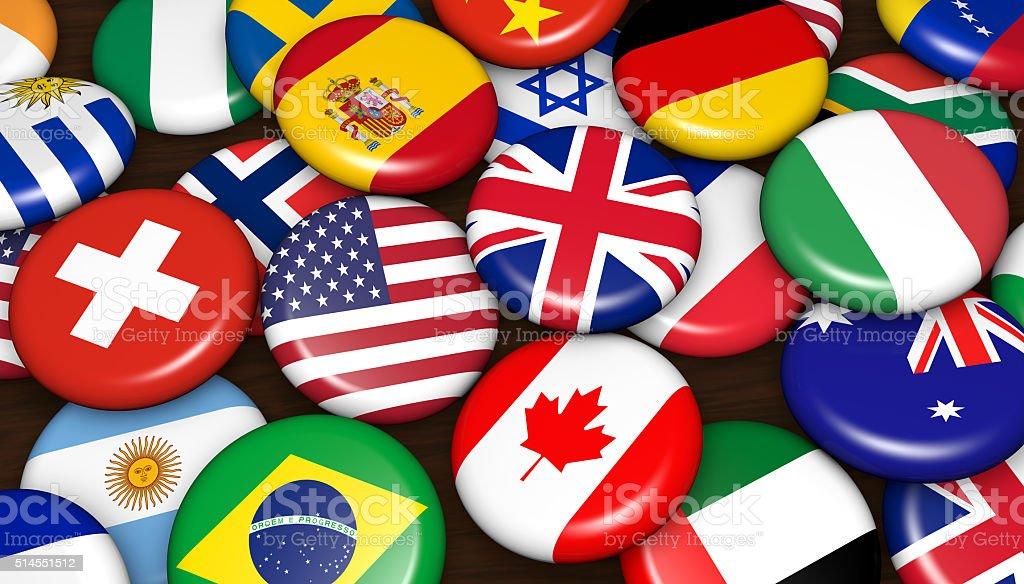 International World Flags Badges stock photo