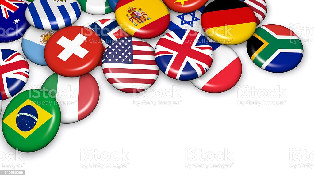 International World Flags Buttons stock photo