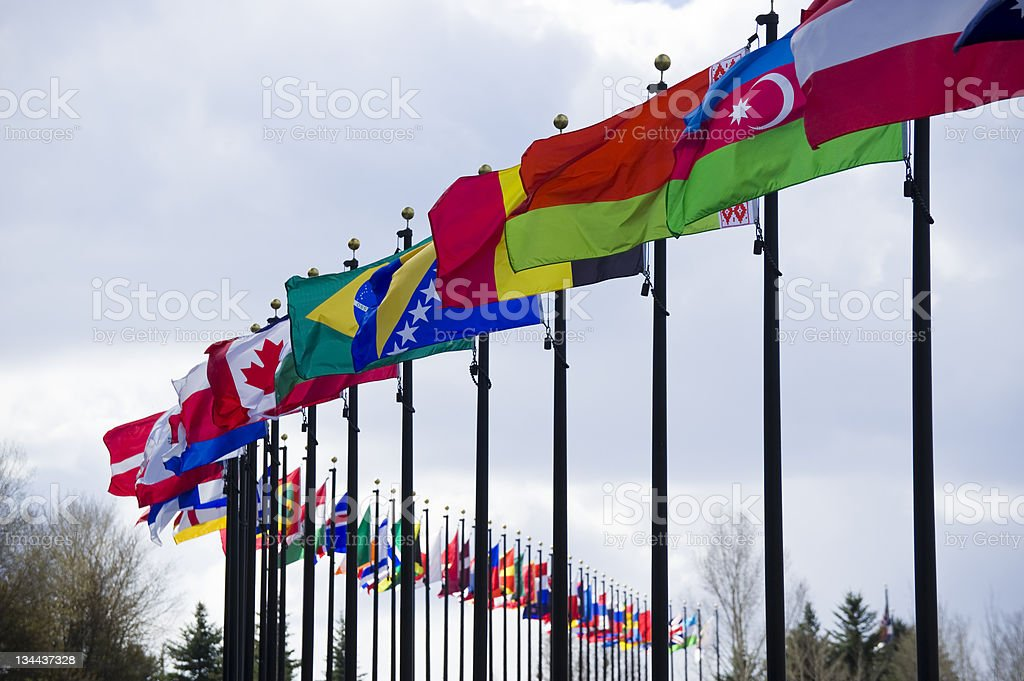 International World Flags in a Row royalty-free stock photo