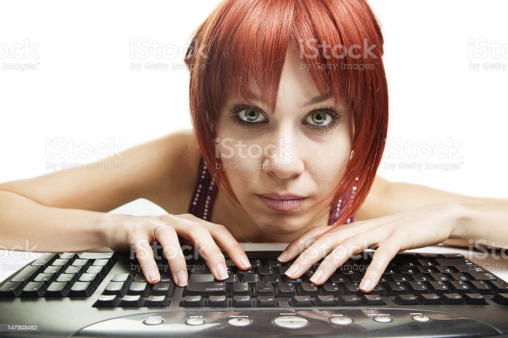 Internet addiction - tired woman surfing the web royalty-free stock photo