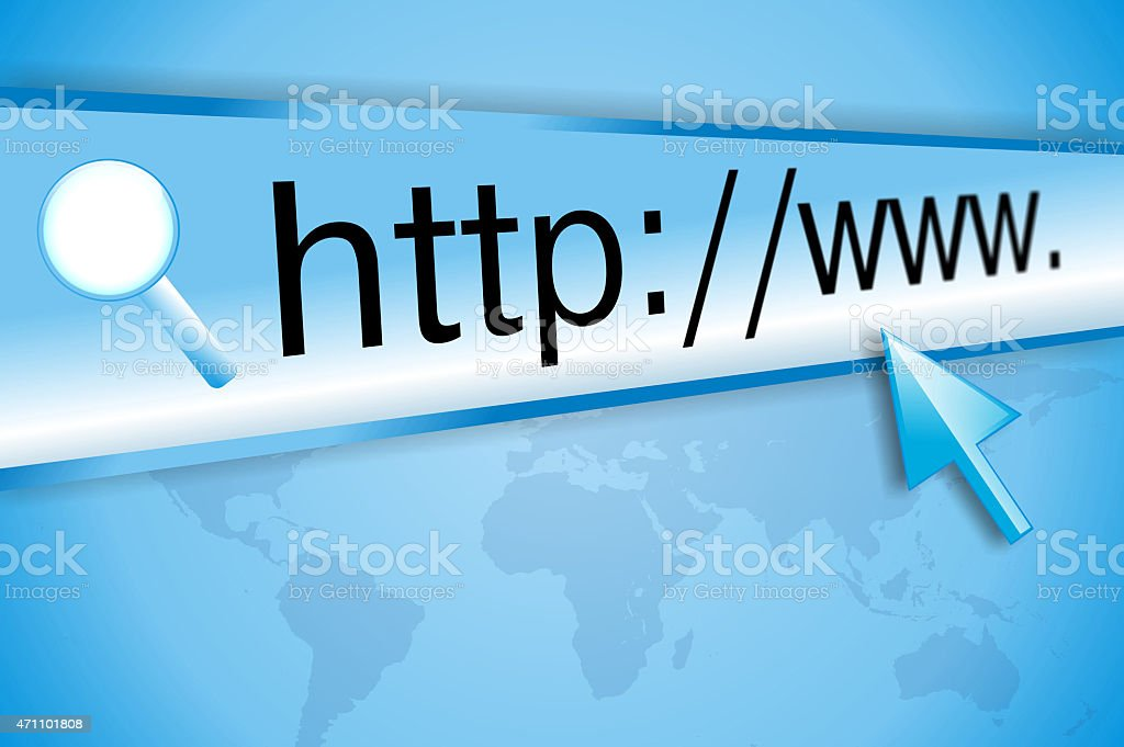 Internet address, computer screen stock photo