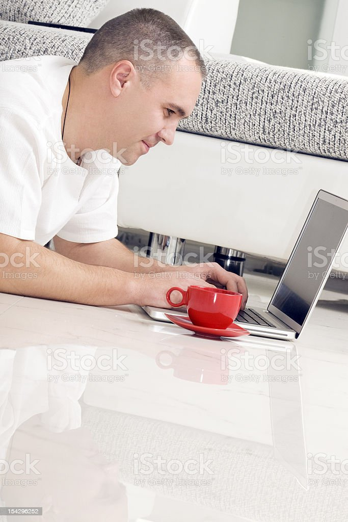 Internet and Coffee. royalty-free stock photo