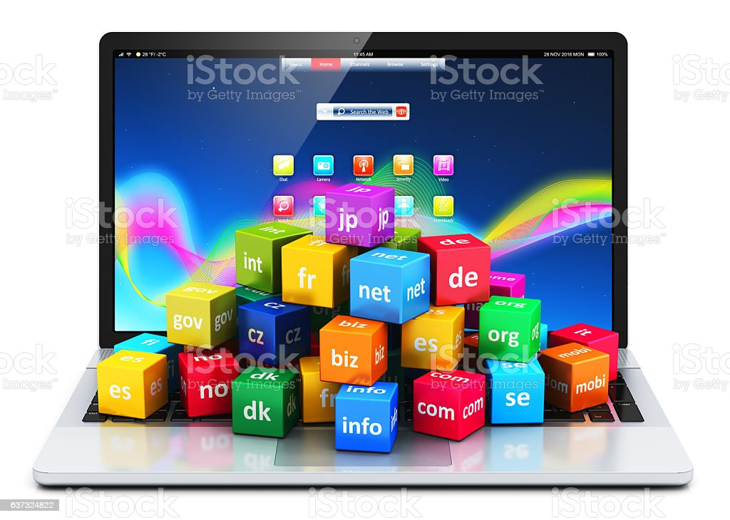 Internet and domain names concept stock photo