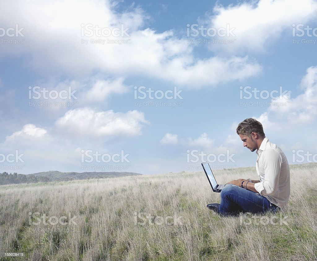 Internet and laptop royalty-free stock photo