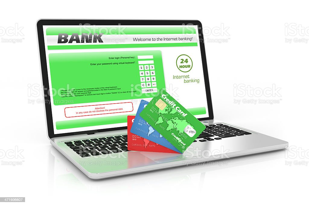 Internet banking service. Laptop and credit cards stock photo