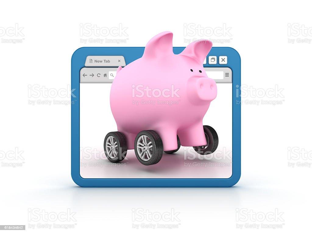 Internet Browser Piggy Bank over Car Wheels stock photo
