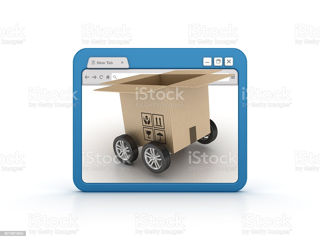 Internet Browser with CardboardBox stock photo