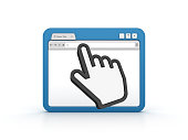 Internet Browser with Computer Hand Cursor