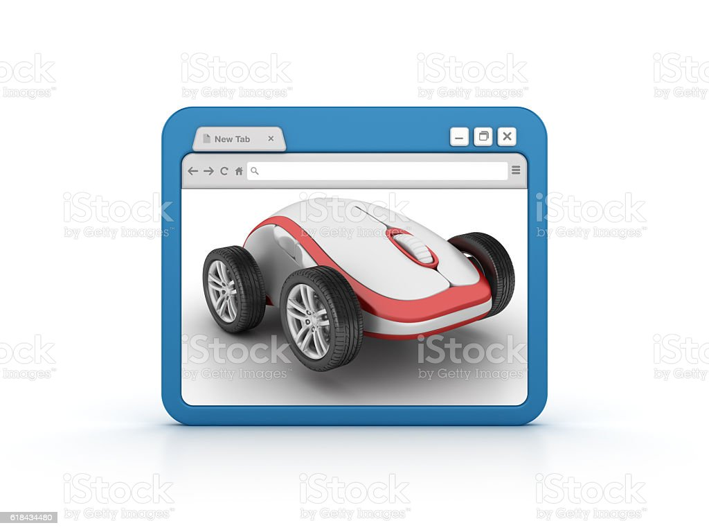 Internet Browser with Computer Mouse over Car Wheels stock photo