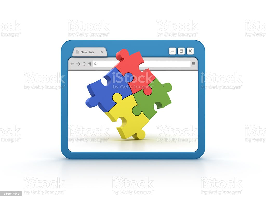 Internet Browser with Jigsaw Pieces stock photo