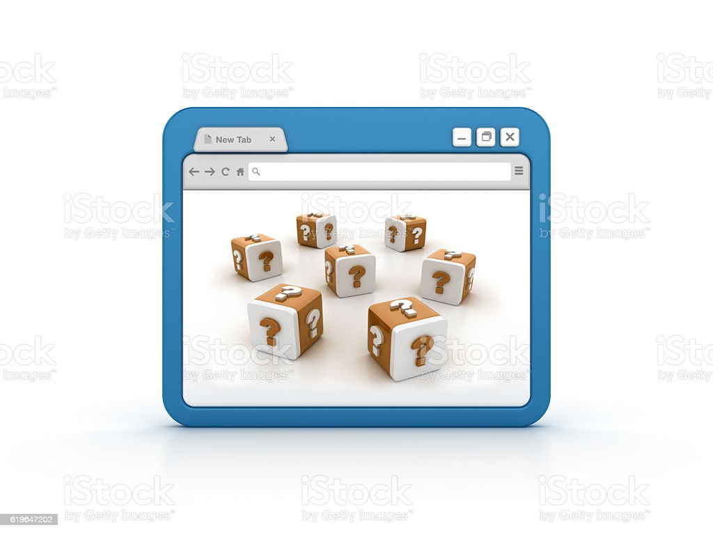 Internet Browser with Question Mark Blocks stock photo